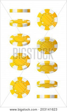 Yellow chips views cartoon style isolated. The blue chips are at different angles around its axis for designers and illustrators. Rotation of bets in the form of a vector illustration