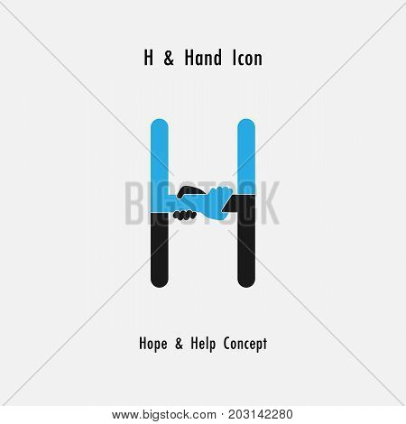 Creative H- alphabet icon abstract and hands icon design vector template.Business offer, partnership, hope, support or help concept.Corporate business and industrial logotype symbol.Vector illustration