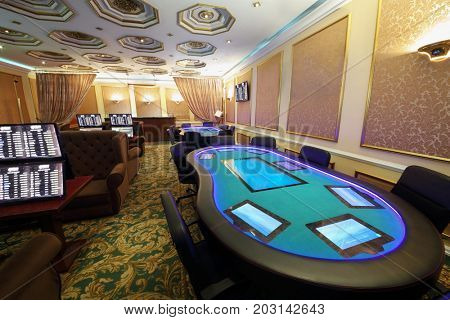 Empty casino with electronic table and electronic gaming machines