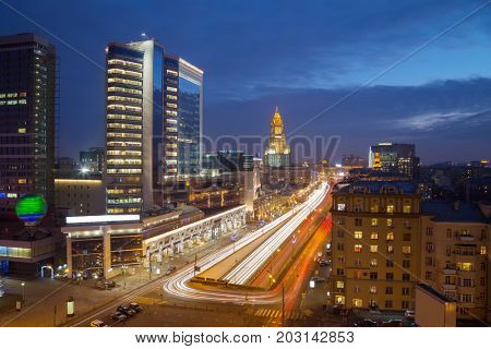 Smolenskaya Square highway in evening Moscow, Russia, long exposure