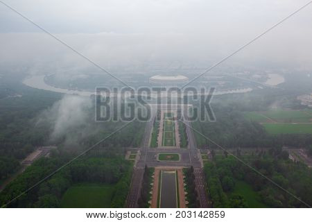 Luzhniki sport complex in foggy early morning in Moscow, Russia, view from MSU