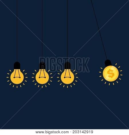 Creative idea makes money. Light bulb balance balls and coin vector illustration