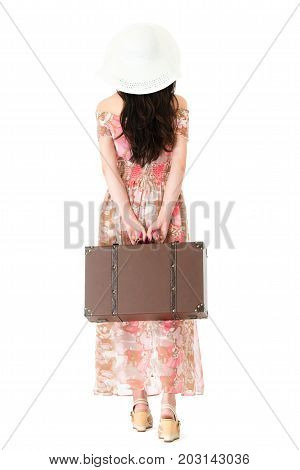 Back View Photo Of Young Lady Wearing Summer Dress