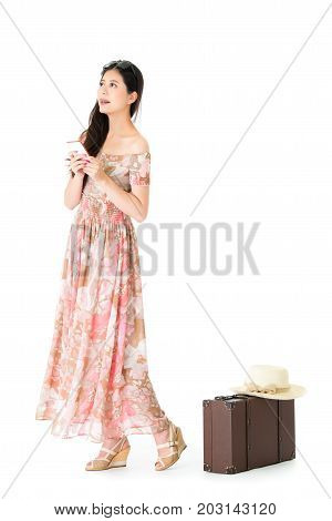 Leisurely Beauty Woman Wearing Dress Daydreaming