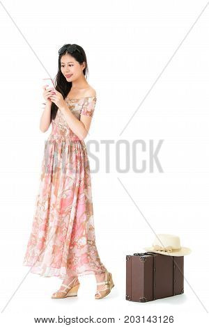 Traveler Woman Carrying Personal Vintage Suitcase