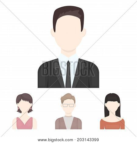 A man with glasses, a girl with a bang, a girl with earrings, a businessman.Avatar set collection icons in cartoon style vector symbol stock illustration .
