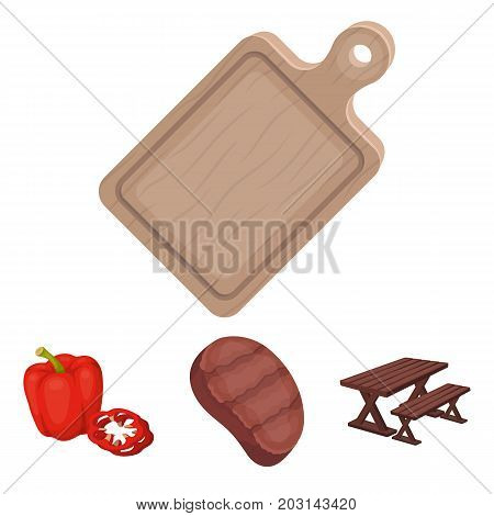 Fried steak, table with a bench for relaxation, sweet pepper, cutting board.BBQ set collection icons in cartoon style vector symbol stock illustration .