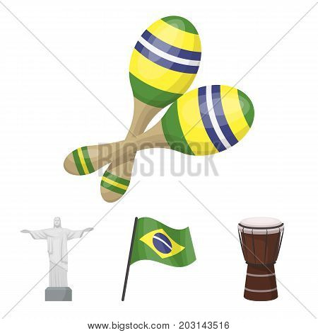 Brazil, country, flag, drum . Brazil country set collection icons in cartoon style vector symbol stock illustration .