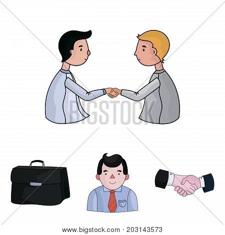 Businessman, handshake, portfolio, agreement.Business-conference and negotiations set collection icons in cartoon style vector symbol stock illustration .