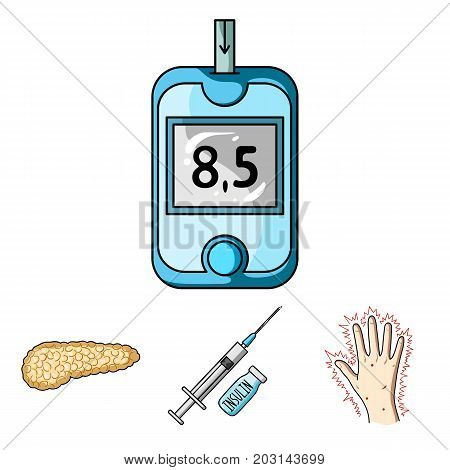 Syringe with insulin, pancreas, glucometer, hand diabetic. Diabet set collection icons in cartoon style vector symbol stock illustration .