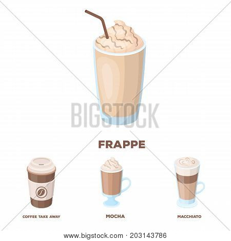Mocha, macchiato, frappe, take coffee.Different types of coffee set collection icons in cartoon style vector symbol stock illustration .