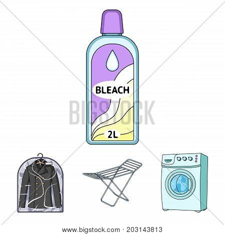 Dryer, washing machine, clean clothes, bleach. Dry cleaning set collection icons in cartoon style vector symbol stock illustration .