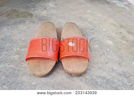 Pairs Of Home-made Traditional Wooden Shoes. Wooden Clogs Are Versatile Shoes Appear In And Out Of H