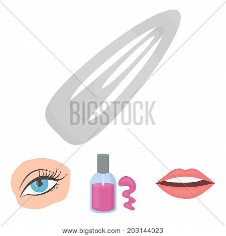 Nail polish, tinted eyelashes, lips with lipstick, hair clip.Makeup set collection icons in cartoon style vector symbol stock illustration .