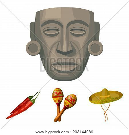 Maracas national musical instrument, sambrero traditional Mexican headdress, red pepper, bitter, idol-deity.Mexico country set collection icons in cartoon style vector symbol stock illustration .