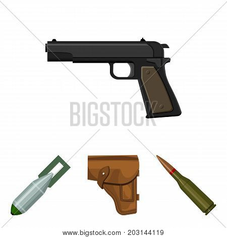 Holster, cartridge, air bomb, pistol. Military and army set collection icons in cartoon style vector symbol stock illustration .