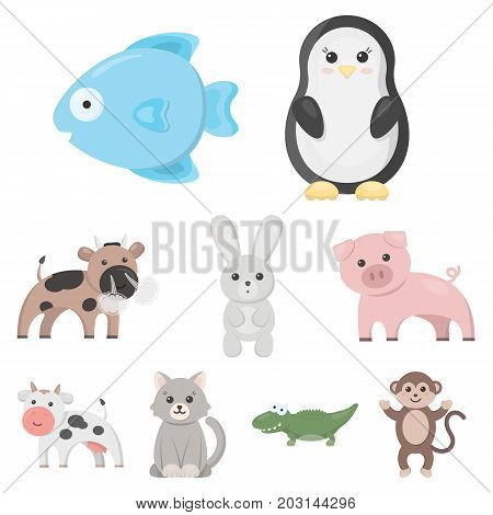 Animals set icons in cartoon style. Big collection of animals vector symbol stock