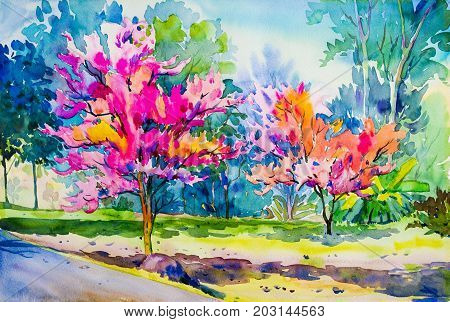 Abstract watercolor original painting pinkorange color of Wild Himalayan Cherry flower and meadow with blue sky. Spring season winter nature backgroundwith green leavesPainted Impressionist abstract image