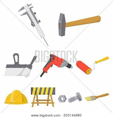 Build and repair set icons in cartoon design. Big collection of build and repair vector symbol stock illustration