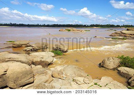 Mekong Rive and tides at Khemarat DistrictUbon Ratchathani Province Thailand