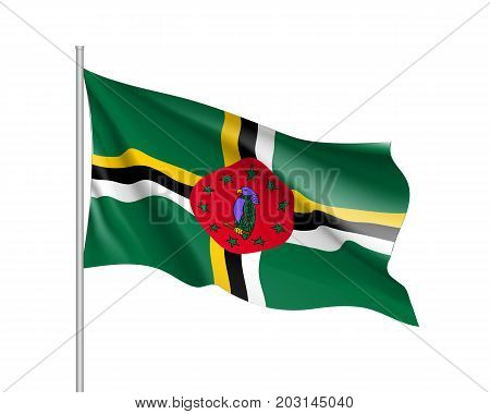 Waving flag of Dominica. Illustration of North America country flag on flagpole. 3d vector icon isolated on white background
