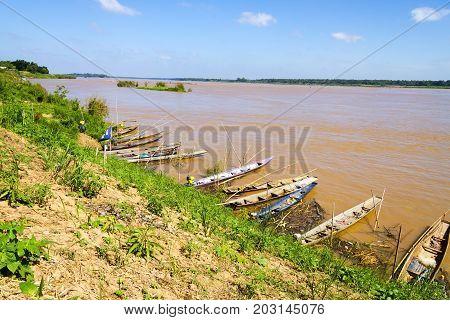 Mekong Rive and small fishing boat at Amnat Charoen Province Thailand