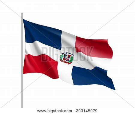 Waving flag of Dominican. Illustration of North America country flag on flagpole. 3d vector icon isolated on white background