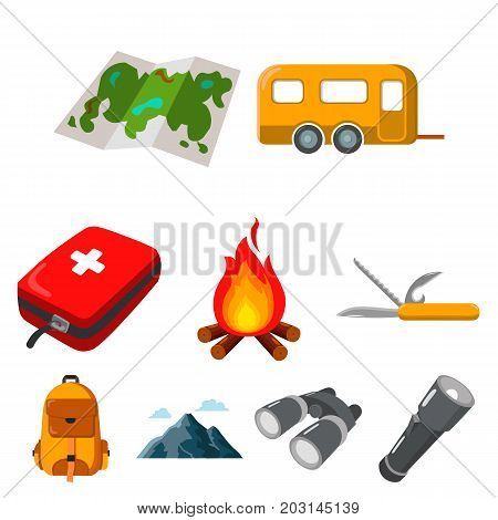 Camping set icons in cartoon design. Big collection of camping vector symbol stock illustration