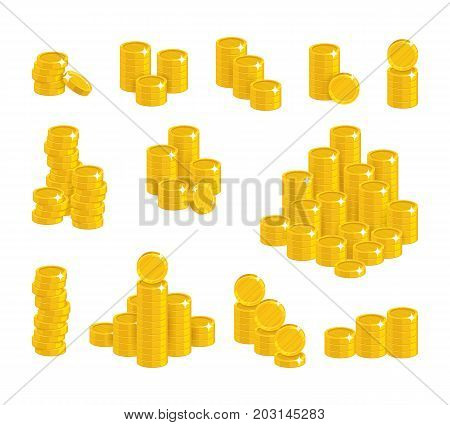 Coins of gold in stacks. Good economic decisions, financial accounting, managing income, wealth. Cartoon vector illustration on white background