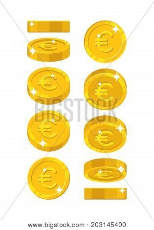 Gold euro views cartoon style isolated. The gold euro is at different angles around its axis for designers and illustrators. Rotation of a gold coin in the form of a vector illustration