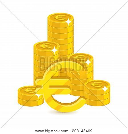Bunch gold euro isolated cartoon. Bunches of gold euro and euro signs for designers and illustrators. Gold stacks of pieces in the form of a vector illustration