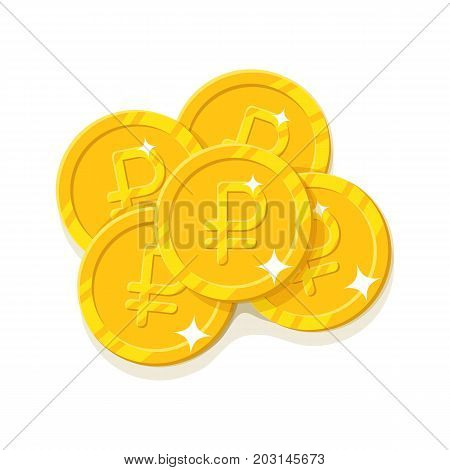 Gold rubles coins cartoon style isolated. Five gold coins for designers and illustrators. A few gold pieces in the form of a vector illustration