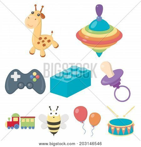 Toys set icons in cartoon style. Big collection of toys vector symbol stock