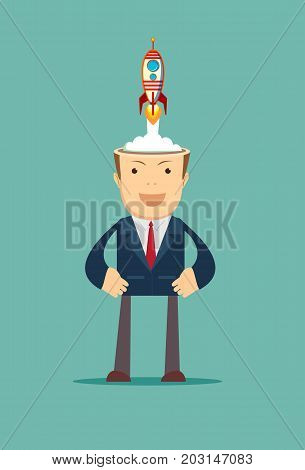 Successful businessman with rocket ship launching from his head. Business idea start up concept. Stock flat vector illustration.