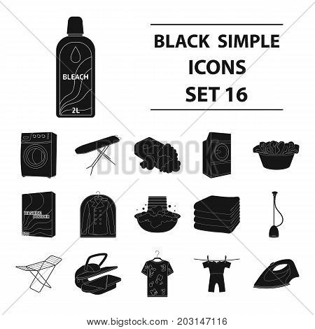 Washing machine, powder, iron and other equipment. Dry cleaning set collection icons in black style vector symbol stock illustration .