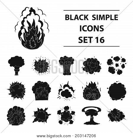 Explosions set icons in black design. Big collection of explosions vector symbol stock illustration