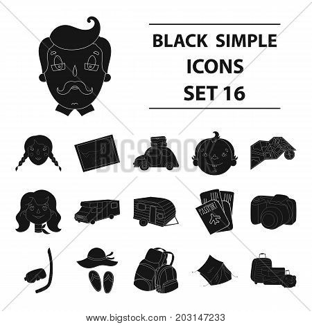 Family holiday set icons in black design. Big collection of family holiday vector symbol stock illustration