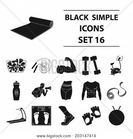 Sport and fitness set icons in black style. Big collection of sport and fitness vector symbol stock