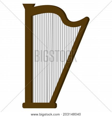 Harp musical instrument flat icon, vector sign, colorful pictogram isolated on white. Symbol, logo illustration. Flat style design