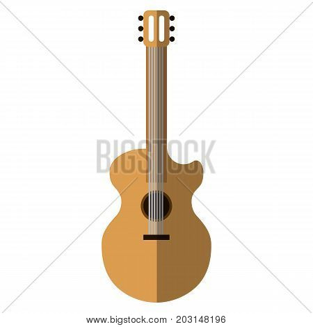 Acoustic guitar musical instrument flat icon, vector sign, colorful pictogram isolated on white. Symbol, logo illustration. Flat style design