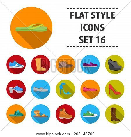 Shoes set icons in flat style. Big collection shoes vector symbol stock