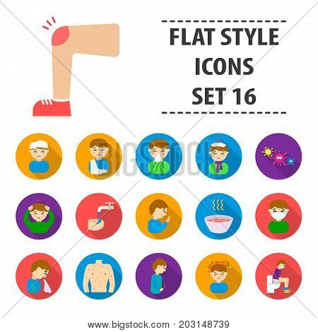 Sick set icons in flat style. Big collection sick vector symbol stock