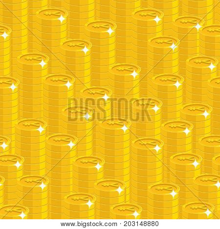 Piles gold Chinese yuan or Japanese yen style seamless pattern. Background of piles gold yuan or yen as a pattern for designers and illustrators. Cover of gold pieces vector illustration