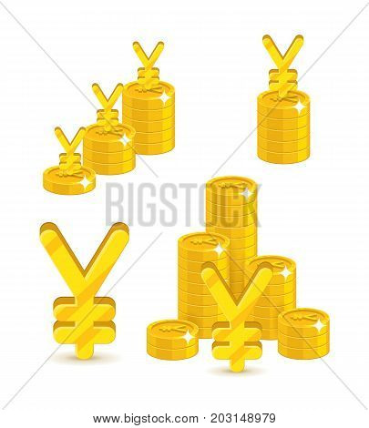 Piles gold Chinese yuan or Japanese yen isolated cartoon set. A lot of stacks and slides of gold yuan or yen and yuan or yen signs. Gold bunches of pieces in the form of a vector illustration
