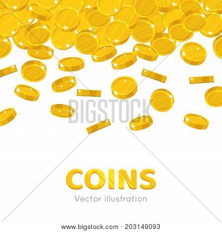 Raingold coins cartoon frame. A rain of the flying gold of coins frame in a cartoon style. Falling gold pieces in the form of vector illustrations
