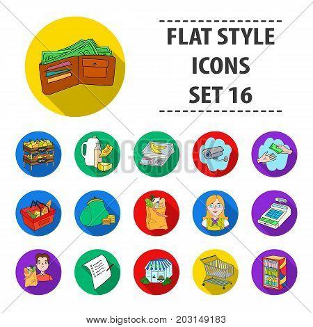 Supermarket set icons in flat design. Big collection of supermarket vector symbol stock illustration