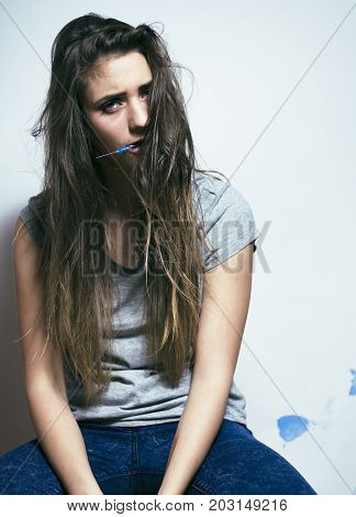 problem depressioned teenage with messed hair and sad face, junky