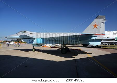 Zhukovsky, Moscow Region, Russia - August 21, 2015: Prototype of Mikoyan Gurevich 1.44 144 BLUE of russian air force standing at Zhukovsky during MAKS-2015 airshow.