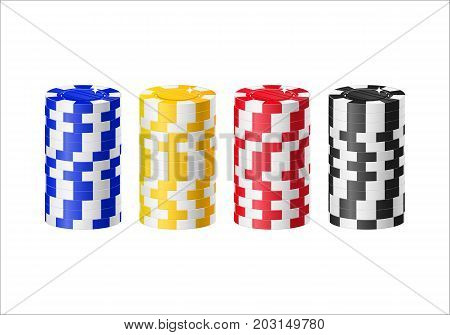 Chips columns cartoon style isolated. Four columns of casino chips of various colors for designers and illustrators. Piles of stakes in the form of a vector illustration