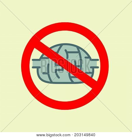 traffic sign with brain, concept of to deny the thinking. Stock flat vector illustration.